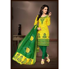 Unstitched Printed cotton Churidhar Dress Material