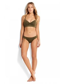 Seafolly Quilted DD Cup Bralette Bikini Top & Quilted Hipster Bikini Pant