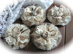 Set of 4  Large Rustic Fabric and Lace  Flowers. by Mydaisy2000, $16.00