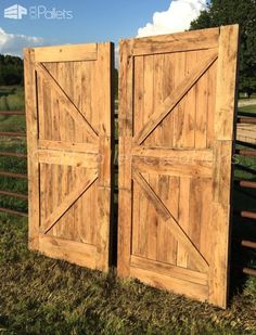 "#PalletDoors, #RecyclingWoodPallets This Prodigious Pallet Barn Door Set measures 80"" tall and a total of 40 1/2"" wide. We needed so much wood that was the same thickness, which we went directly to a provider. The boards were seasoned boards that simply didn't make the cut to arrive"