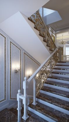 Louis XVI championed neoclassical design as a less-extravagant alternative to the excesses of rococo, but this lavish staircase provides a necessary counterbalance to the straight lines that define the rest of the interior. Despite its association with baroque design, the acanthus scrollwork is another feature derived from Greek architecture – so it's still true to the neoclassical theme overall.