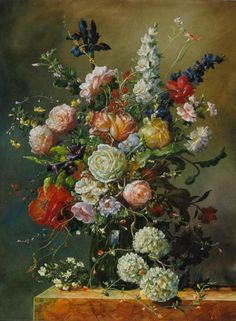 Enjoy our large collection of Gyuka Siska Original Oil Paintings. Siska's highly detailed florals are reminiscent of old master paintings. Old Master, Flower Art, Still Life, Fine Art, The Originals, Gallery, Artwork, Flowers, Floral Paintings