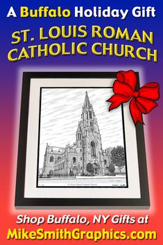 Highly detailed drawing featuring the St. Louis Roman Catholic Church in Buffalo, NY by Western NY artist Michael Smith. Shop for unique artwork in a variety of subjects at MikeSmithGraphics.com. St Joseph, Roman Catholic, Limited Edition Prints, Wall Art Prints, Buffalo, Cathedral, Ink, St Louis, Drawings