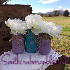 Purple and teal painted mason jars painted by Southernbornnblessed, $23.00