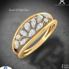 A scintillating diamond studded engagement ring. Diamond Studs, Diamond Jewelry, Gold Jewelry, Jewelry Rings, Jewelery, Men's Jewellery, Designer Jewellery, Ring Set, Ring Verlobung