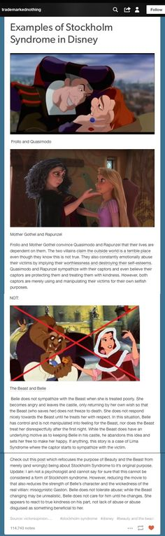 Wonderful explanation describing Stockholm syndrome in Disney which is actually exemplified in Tangled & Hunchback of Notre Dame......NOT Beauty and the Beast.