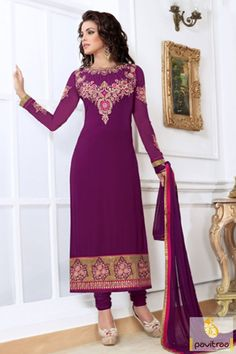 Latest magical color of purple santoon embroidered straight cut dress with georgette santoon salwar kameez. Buy online Indian culture evening wear suit with simple dupatta. salwarsuit, #designerdress, #designdresses, #designerdresses, #indiandresses, #dress,   #dressesonline, #designerpartydresses, #embroiderydress,   #plussizedresses, #straightcutsalwarkameez   More Info.: http://www.pavitraa.in/store/straight-salwar-suits/ Any Query: Call Us:+91-7698234040