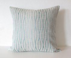 Decorative pillow cover - Throw pillow - 18x18 - Embroidery - Lattice - Light Blue - Geometric Pillow - Designer Pillow
