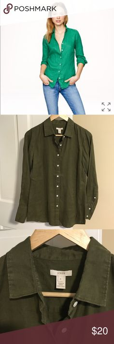 """Jcrew perfect linen shirt (safari green) Safari green linen perfect shirt from jcrew. Perfect condition, worn a couple times and just picked up from dry cleaners. Such a great summertime piece and also a perfect cover up for a beach day! Shoulder to hem 26 1/2"""". J. Crew Tops Button Down Shirts"""