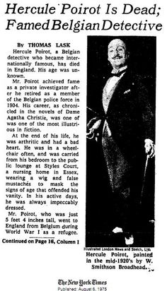 Hercule Poirot - New York Times. Rely on the little grey cells!