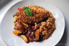 TUSCANY SAUSAGE WITH BRUSCHETTA QUINOA + ROASTED VEGETABLES WITH BALSAMIC REDUCTION