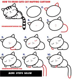 How to Draw a Supercute Kawaii / Cartoon Cat / Kitten Napping Easy Step by Step Drawing Tutorial for Kids