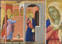 Duccio di Buoninsegna (vers 1255-vers 1319) Datation : entre 1308 et 1311 Nature de l'image : Peinture sur bois  Technique utilisée : Détrempe sur bois  Dimensions :  Hauteur 44,5 * Largeur 45,8 cm Lieu de conservation : Londres, The National Gallery