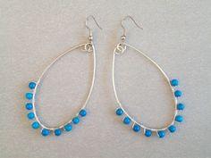 Wire wrapped Turquoise glass hoop earrings by CaroLinesJewel, $15.00