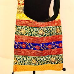 Cotton Handmade handcrafted embroidered with sequence work cross body shoulder bag.