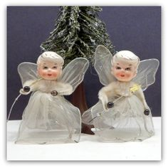 Vintage Christmas Porcelain Tulle Angel Ornaments Japan $22.00