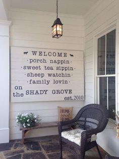 Outdoor Welcome Home Porch Pendant Light via lifeontheshadygrove.com