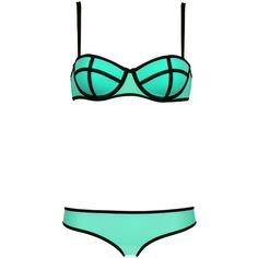 LUCIE SPEARMINT Triangl (£43) ❤ liked on Polyvore featuring swimwear, bikinis, bikini, underwear, swimsuit, triangl, triangle bikinis, triangl bikini, triangl bathing suits and underwire bra