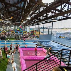 Trampolines + aircraft hanger = @bounceinc Essendon. Super cool, especially when…