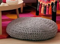 How to Make a Tshirt Yarn Crochet Floor Cushions - Free Pattern here: https://au.lifestyle.yahoo.com/better-homes-gardens/craft/articles/a/-/14611674/how-to-make-a-crochet-floor-cushions/