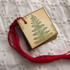 Square Tree Tags, Stamped in green, Red twine #3 - Sweetly Scrapped