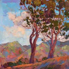 Catalina landscape painting, by modern impressionist Erin Hanson