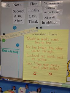 Poem for Quotation Marks 2nd Grade Ela, First Grade Writing, Grade 3, Fourth Grade, Second Grade, Writing Lessons, Teaching Writing, Writing Ideas, Math Classroom