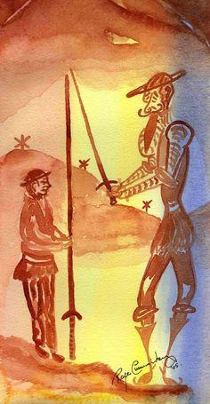 Don Quijote. Watercolour by Roger Thomas Cummiskey www.rogercummiskey.com