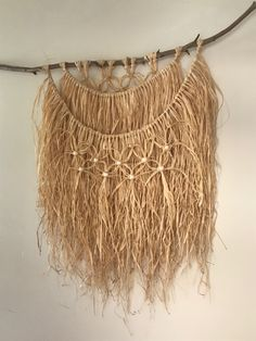 Adds lovely texture to space Diy Tassel Bunting, Raffia Crafts, Macrame Plant Hangers, Macrame Projects, Macrame Patterns, Baskets On Wall, Hacks Diy, Bohemian Decor, Textiles