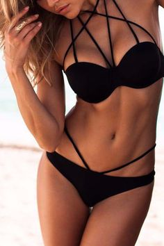 Black Strappy Bikini Sets
