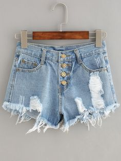 Straight. Button Fly. Denim Shorts Decorated with Ripped, Raw Hem. Regular fit. Mid Waist. Perfect choice for Casual, Rock wear. Plain design. Designed in Blue. Fabric has some stretch.