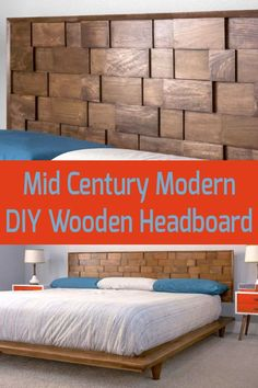 Why buy a king headboard when you can DIY it? Build this mid-century modern DIY headboard using our easy-to-follow tutorial. Do it cheaper, better (higher quality), and make it any color you like. King Headboard, Wood Headboard, Diy Headboards, Oak Plywood, How To Make Headboard, Oak Trim, Wood Mosaic, Wood Pieces, Unique Furniture