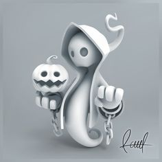 ArtStation - Ghost. White, Raul . 3d Model Character, Game Character Design, Character Design Animation, Character Design Inspiration, Character Art, Dark Art Drawings, Colorful Drawings, Vinyl Toys, Vinyl Art
