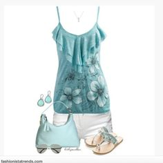 spaghetti strap shoes tank top top necklace ruffles shirt ruffled top flowers floral pattern light blue top summer top shorts white shorts s. Cute Summer Outfits, Summer Wear, Simple Outfits, Spring Summer Fashion, Casual Outfits, Summer Clothes, Girly Outfits, Short Outfits, Summer 2014