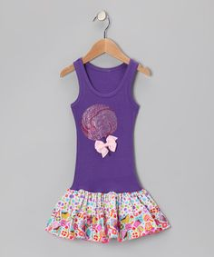Take a look at this Purple Lollipop Sparkling Ruffle Dress - Toddler & Girls by Bubblegum Diva on #zulily today!