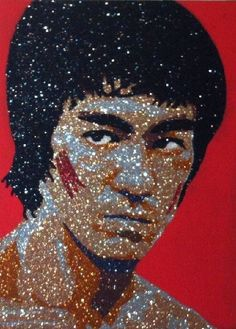 Bruce Lee - Enter The Dragon Glitter Art by Vanessa Robles Kung Fu, Blowing Glitter, Game Of Death, Legendary Dragons, Bruce Lee Photos, The Big Boss, Men Are Men, Brandon Lee, Enter The Dragon