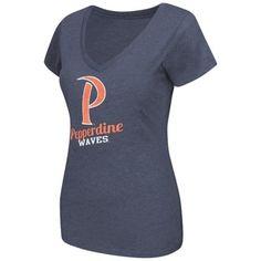 Pepperdine Waves Women's Tabloid V-Neck T-Shirt T-Shirt – Navy Blue