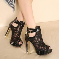 Beautiful Black Peep Toe High Heels Fashion Shoes