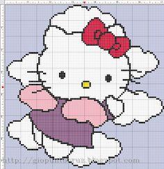 HK angel to cross-stitch Bijoux Hello Kitty, Chat Hello Kitty, Hello Kitty Jewelry, Beaded Cross Stitch, Cross Stitch Charts, Cross Stitch Embroidery, Cross Stitch Patterns, Hello Ketty, Crochet Hello Kitty