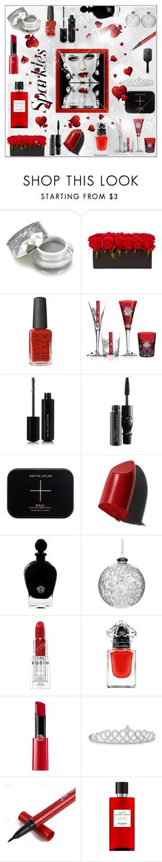 """#PolyPresents: Sparkly Beauty"" by mariaangeles-g ❤ liked on Polyvore featuring beauty, Waterford, Marc Jacobs, MAC Cosmetics, Bobbi Brown Cosmetics, EB Florals, Shishi, Rodin, Guerlain and Giorgio Armani"