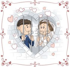 creative bride: Just Married Couple in Jail Vector Cartoon Illustration Cartoon Pics, Cartoon Drawings, Wedding Images, Wedding Cards, Bride And Groom Cartoon, Happy Anniversary Wedding, Cartoon Template, Engagement Invitation Template, Wedding Invitation