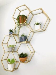 Gold and Glass Honeycomb Wall Shelf by World Market Bedroom Decoration bedroom wall decor Cute Dorm Rooms, Cool Rooms, Living Room Designs, Living Room Decor, Bedroom Designs, Dining Room, Decor Room, Gold Bedroom Decor, Decorating Walls In Bedroom