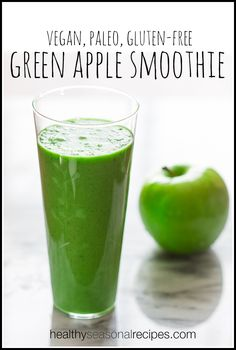 Vegan, paleo and gluten-free green apple smoothie recipe on HealthySeasonalRecipes.com