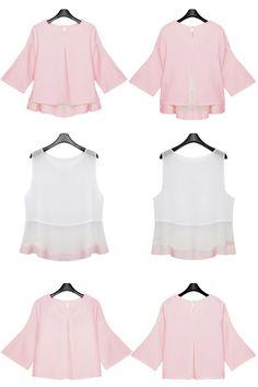 Buy Pink Short Sleeve Ruffle Chiffon Blouse from abaday.com, FREE shipping Worldwide - Fashion Clothing, Latest Street Fashion At Abaday.com