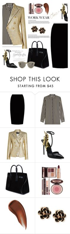 """Work Wear Chic"" by jan31 ❤ liked on Polyvore featuring Jupe By Jackie, Etro, Balmain, Yves Saint Laurent, Charlotte Tilbury, Chantecler, WALL and TIBI"