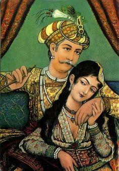Discovering Mughal, Rajput & Mauryan History: Glory of Faith - Akbar with Mariam-Uz-Zamani Begum - Painting