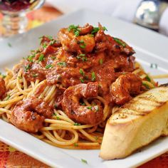 Creamy Cajun Shrimp Spaghetti - this is my kind of meal; a delicious, spicy, satisfying plate of pasta with succulent grilled Cajun shrimp. Grilled chicken breast can easily be substituted for the shrimp.