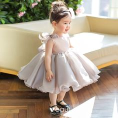 Elegant Grey Organza Birthday Flower Girl Dresses 2020 Princess Scoop Neck Sleeveless Short Ruffle Wedding Party Dresses - Lilly is Love Baby Fancy Dress, Baby Girl Birthday Dress, Cute Baby Dresses, Toddler Flower Girl Dresses, Baby Girl Dress Patterns, Baby Dress Design, Baby Girl Party Dresses, Dresses Kids Girl, Dress Girl
