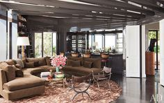 Love this couch in Darren Star's home. Design by Waldo Fernandez.