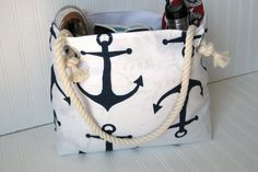Hey, I found this really awesome Etsy listing at https://www.etsy.com/listing/187829101/navy-anchors-beach-tote-bag-rope-handles